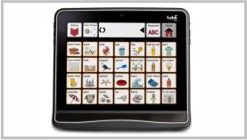 Imagen de una tablet con una aplicación de enseñanza abierta